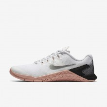 932LFYWO Nike Metcon 4 Treningssko Dame Hvite/Rosa/Svart/Metal Sølv
