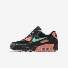 944GEJTW Nike Air Max 90 Lifestyle Shoes For Boys Black/Crimson Pulse/Vast Grey/Green Glow