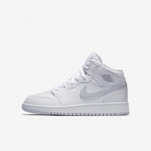970IEVMP Air Jordan 1 Lifestyle Shoes For Boys White/Pure Platinum