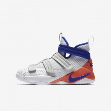 994AKSHQ Nike LeBron Soldier XI Basketball Shoes For Boys White/Infrared/Pure Platinum/Racer Blue